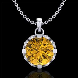 1.5 CTW Intense Fancy Yellow Diamond Art Deco Stud Necklace 18K White Gold - REF-218H2A - 37385