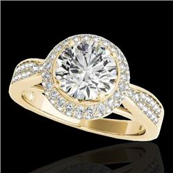 2.15 CTW H-SI/I Certified Diamond Solitaire Halo Ring 10K Yellow Gold - REF-365W3F - 34416