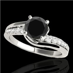 1.31 CTW Certified VS Black Diamond Bypass Solitaire Ring 10K White Gold - REF-57H8A - 35118