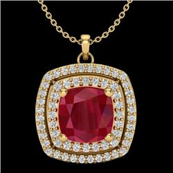 2.52 CTW Ruby & Micro Pave VS/SI Diamond Halo Necklace 18K Yellow Gold - REF-76A4X - 20462