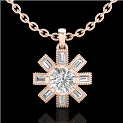 1.33 CTW VS/SI Diamond Solitaire Art Deco Stud Necklace 18K Rose Gold - REF-220N9Y - 37068