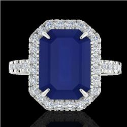 5.33 CTW Sapphire And Micro Pave VS/SI Diamond Halo Ring 18K White Gold - REF-77K3W - 21434