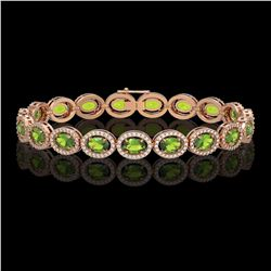 13.87 CTW Peridot & Diamond Halo Bracelet 10K Rose Gold - REF-251A6X - 40479