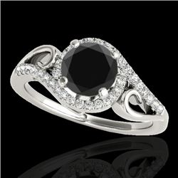 1.25 CTW Certified VS Black Diamond Solitaire Halo Ring 10K White Gold - REF-56W9F - 34171
