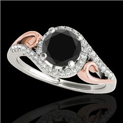 1.25 CTW Certified VS Black Diamond Solitaire Halo Ring 10K White & Rose Gold - REF-56T9M - 34172