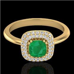 1.16 CTW Emerald & Micro VS/SI Diamond Ring Solitaire Double Halo 18K Yellow Gold - REF-70N9Y - 2102