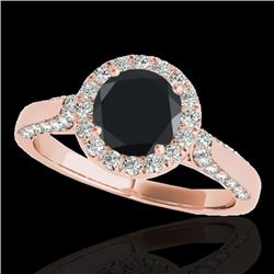 2.15 CTW Certified VS Black Diamond Solitaire Halo Ring 10K Rose Gold - REF-96X9T - 33575