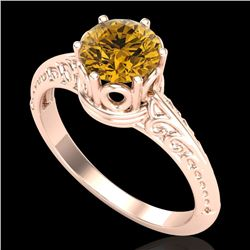 1 CTW Intense Yellow Diamond Solitaire Engagement Art Deco Ring 18K Rose Gold - REF-180F2N - 38121