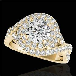 2 CTW H-SI/I Certified Diamond Solitaire Halo Ring 10K Yellow Gold - REF-236A4X - 33875