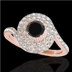 1.86 CTW Certified VS Black Diamond Solitaire Halo Ring 10K Rose Gold - REF-89A3X - 34508