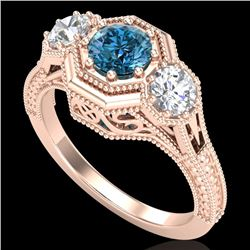 1.05 CTW Intense Blue Diamond Solitaire Art Deco 3 Stone Ring 18K Rose Gold - REF-161N8Y - 37951