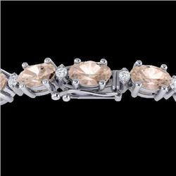 11 CTW Morganite & VS/SI Diamond Eternity Bracelet 10K White Gold - REF-123F6N - 21454