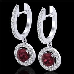1.75 CTW Garnet & Micro Halo VS/SI Diamond Earrings 18K White Gold - REF-82M8H - 23256