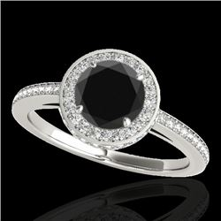 1.55 CTW Certified VS Black Diamond Solitaire Halo Ring 10K White Gold - REF-86M9H - 34277