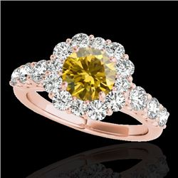 2.25 CTW Certified Si/I Fancy Intense Yellow Diamond Solitaire Halo Ring 10K Rose Gold - REF-207T6M