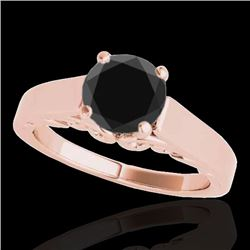 1.25 CTW Certified VS Black Diamond Solitaire Ring 10K Rose Gold - REF-50M4H - 35150