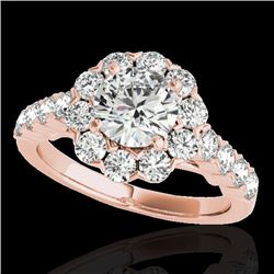 3 CTW H-SI/I Certified Diamond Solitaire Halo Ring 10K Rose Gold - REF-410T9M - 33554