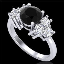 2.1 CTW Fancy Black Diamond Solitaire Engagement Classic Ring 18K White Gold - REF-154X5T - 37604