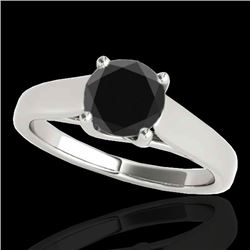 1.5 CTW Certified VS Black Diamond Solitaire Ring 10K White Gold - REF-59A6X - 35537
