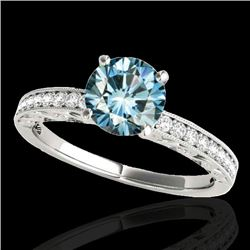 1.18 CTW Si Certified Blue Diamond Solitaire Antique Ring 10K White Gold - REF-160K2W - 34608