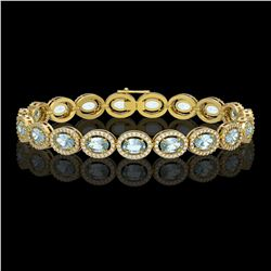 14.82 CTW Sky Topaz & Diamond Halo Bracelet 10K Yellow Gold - REF-228M2H - 40483