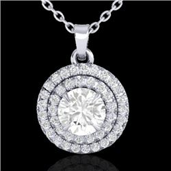 1 CTW Micro Pave VS/SI Diamond Solitaire Necklace Double Halo 18K White Gold - REF-143F5N - 21542