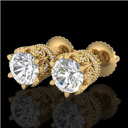 2.04 CTW VS/SI Diamond Solitaire Art Deco Stud Earrings 18K Yellow Gold - REF-361F8N - 37243