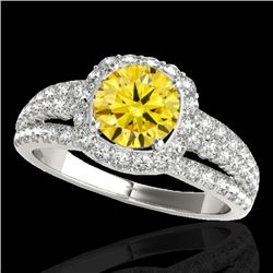 2 CTW Certified Si/I Fancy Intense Yellow Diamond Solitaire Halo Ring 10K White Gold - REF-180W2F -