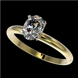 1 CTW Certified VS/SI Quality Oval Diamond Solitaire Ring 10K Yellow Gold - REF-297M2H - 32896