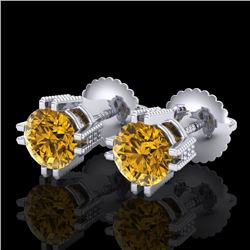 1.07 CTW Intense Fancy Yellow Diamond Art Deco Stud Earrings 18K White Gold - REF-172W8F - 37539