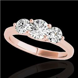 2 CTW H-SI/I Certified Diamond 3 Stone Solitaire Ring 10K Rose Gold - REF-281M8H - 35386