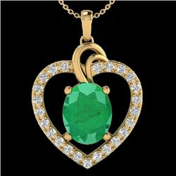 4 CTW Emerald & VS/SI Diamond Designer Inspired Heart Necklace 14K Yellow Gold - REF-81A8X - 20493