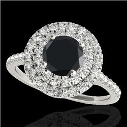 1.5 CTW Certified VS Black Diamond Solitaire Halo Ring 10K White Gold - REF-71T3M - 33355