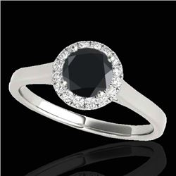 1.11 CTW Certified VS Black Diamond Solitaire Halo Ring 10K White Gold - REF-59N3Y - 33817