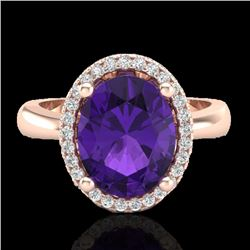 2.50 CTW Amethyst And Micro Pave VS/SI Diamond Ring Halo 14K Rose Gold - REF-43N6Y - 21091