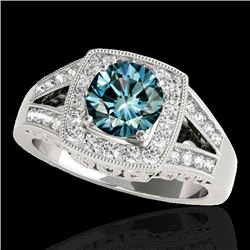 1.65 CTW Si Certified Fancy Blue Diamond Solitaire Halo Ring 10K White Gold - REF-233T4M - 34464