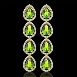 8.4 CTW Peridot & Diamond Halo Earrings 10K Yellow Gold - REF-172T2M - 41311