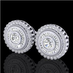 2.61 CTW VS/SI Diamond Solitaire Art Deco Stud Earrings 18K White Gold - REF-381K8W - 37082