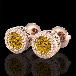 1.09 CTW Intense Fancy Yellow Diamond Art Deco Stud Earrings 18K Rose Gold - REF-123T6M - 37484