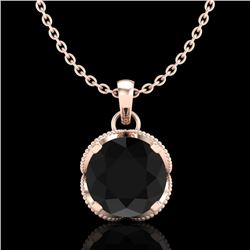 1.13 CTW Fancy Black Diamond Solitaire Art Deco Stud Necklace 18K Rose Gold - REF-94K5W - 37423