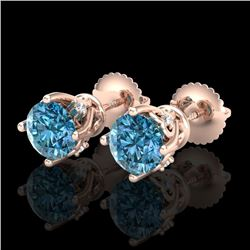1.26 CTW Fancy Intense Blue Diamond Art Deco Stud Earrings 18K Rose Gold - REF-133Y3K - 37790