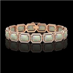 24.37 CTW Opal & Diamond Halo Bracelet 10K Rose Gold - REF-372W8F - 41538