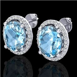 6 CTW Sky Blue Topaz & Micro VS/SI Diamond Earrings Halo 18K White Gold - REF-74H5A - 21048
