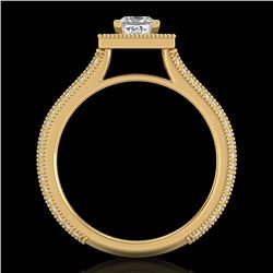 1.41 CTW Princess VS/SI Diamond Solitaire Micro Pave Ring 18K Yellow Gold - REF-200Y2K - 37180