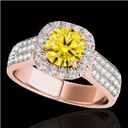 1.8 CTW Certified Si/I Fancy Intense Yellow Diamond Solitaire Halo Ring 10K Rose Gold - REF-227Y3K -