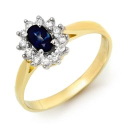 0.51 CTW Blue Sapphire & Diamond Ring 10K Yellow Gold - REF-20N5Y - 12624