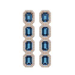 12.02 CTW London Topaz & Diamond Halo Earrings 10K Rose Gold - REF-152F2N - 41463