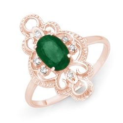 0.71 CTW Emerald & Diamond Ring 10K Rose Gold - REF-17X5T - 12479