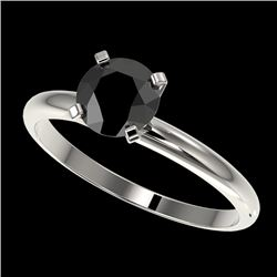 1 CTW Fancy Black VS Diamond Solitaire Engagement Ring 10K White Gold - REF-32T8M - 32887