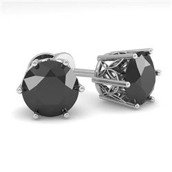 3.0 CTW Black Certified Diamond Stud Solitaire Earrings 18K White Gold - REF-84W8F - 35853